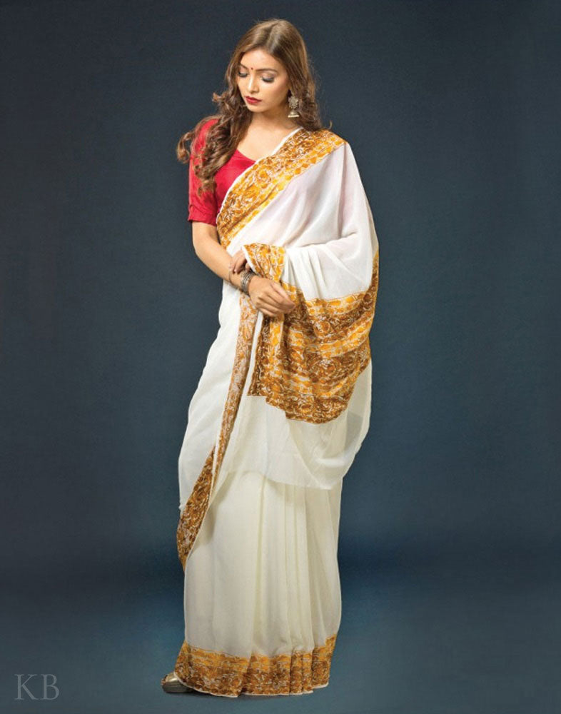 White And Gold Aari Embroidered Georgette Saree - Kashmir Box
