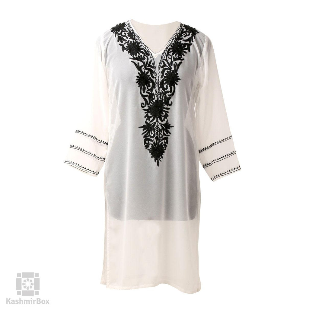 Black And White Aari Embroidered Georgette Kurti