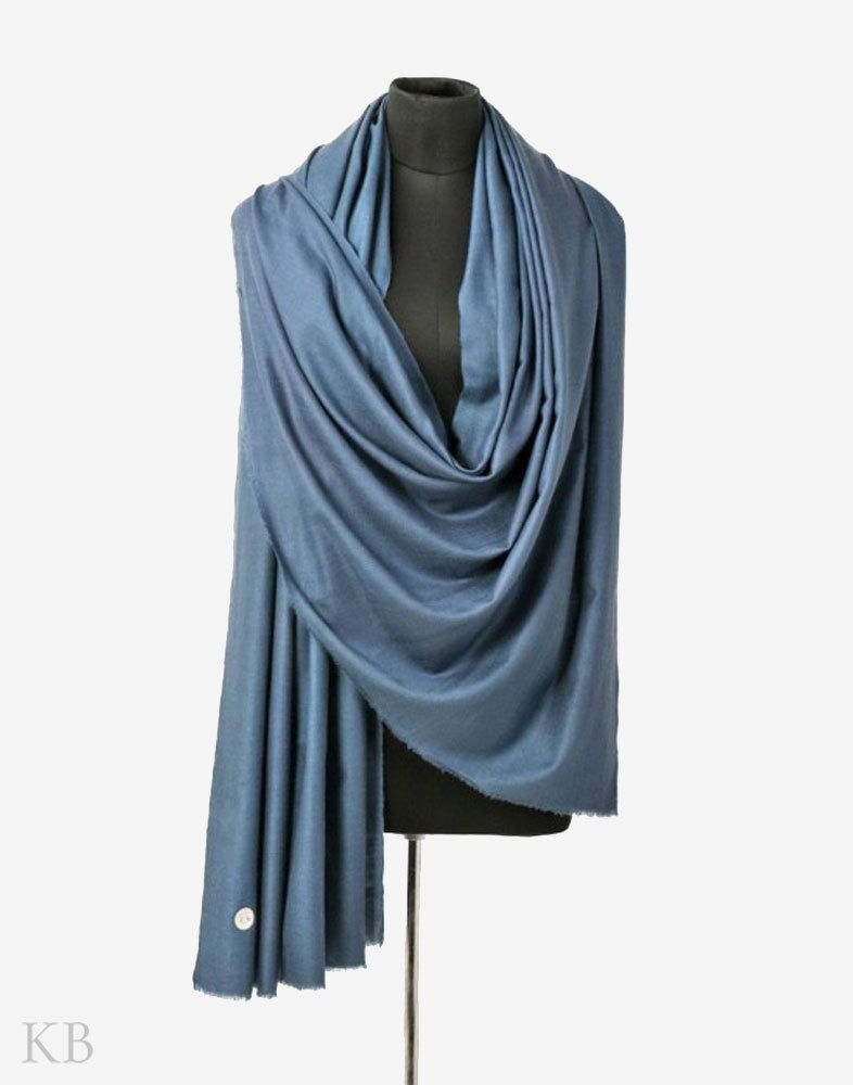 GI Certified Spruce Blue Solid Cashmere Pashmina Shawl