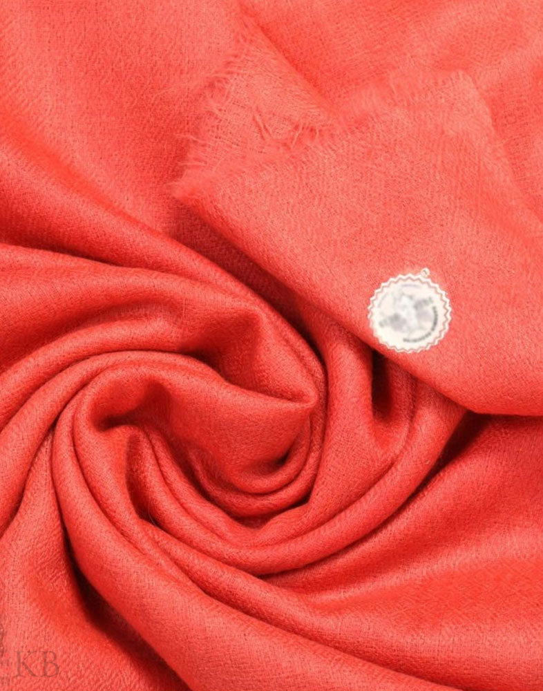 GI Certified Strawberry Pink Solid Cashmere Pashmina Stole - Kashmir Box