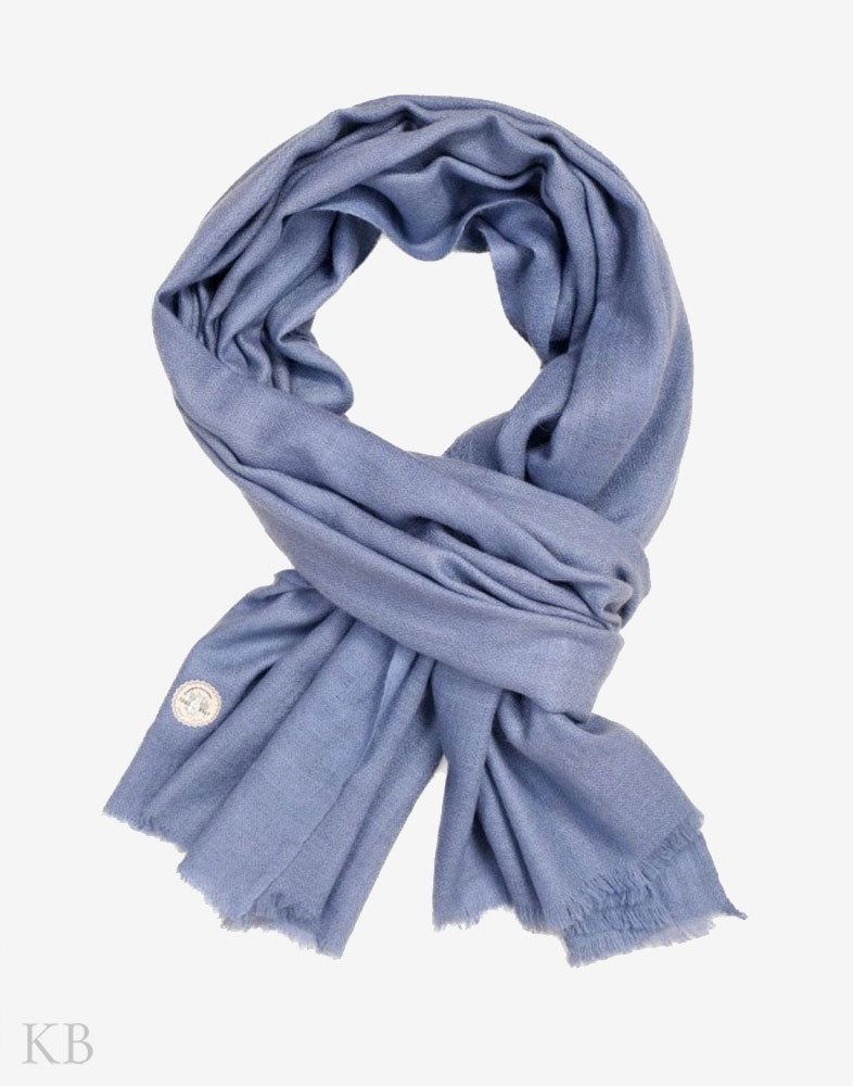 GI Certified Stone Blue Solid Cashmere Pashmina Stole - Kashmir Box