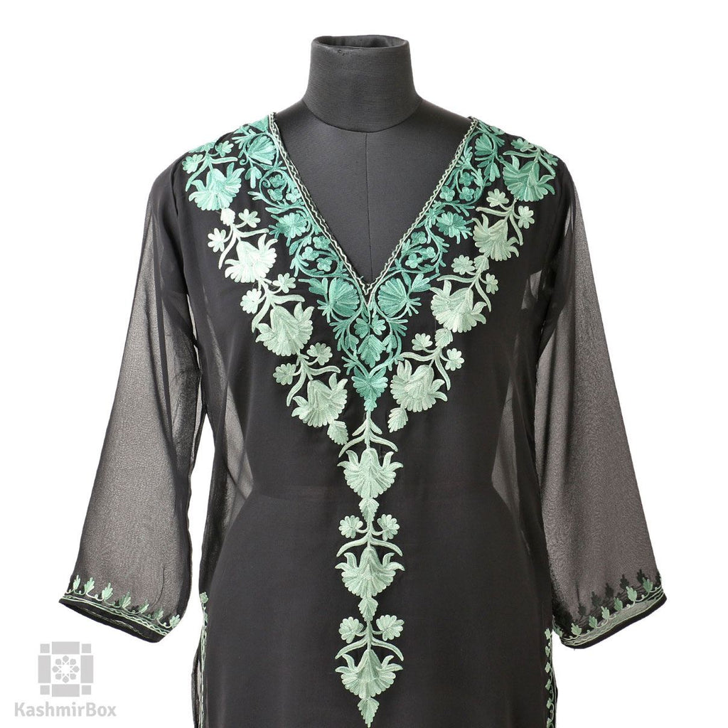 Black Lotus Vine Aari Embroidery Georgette Kurti