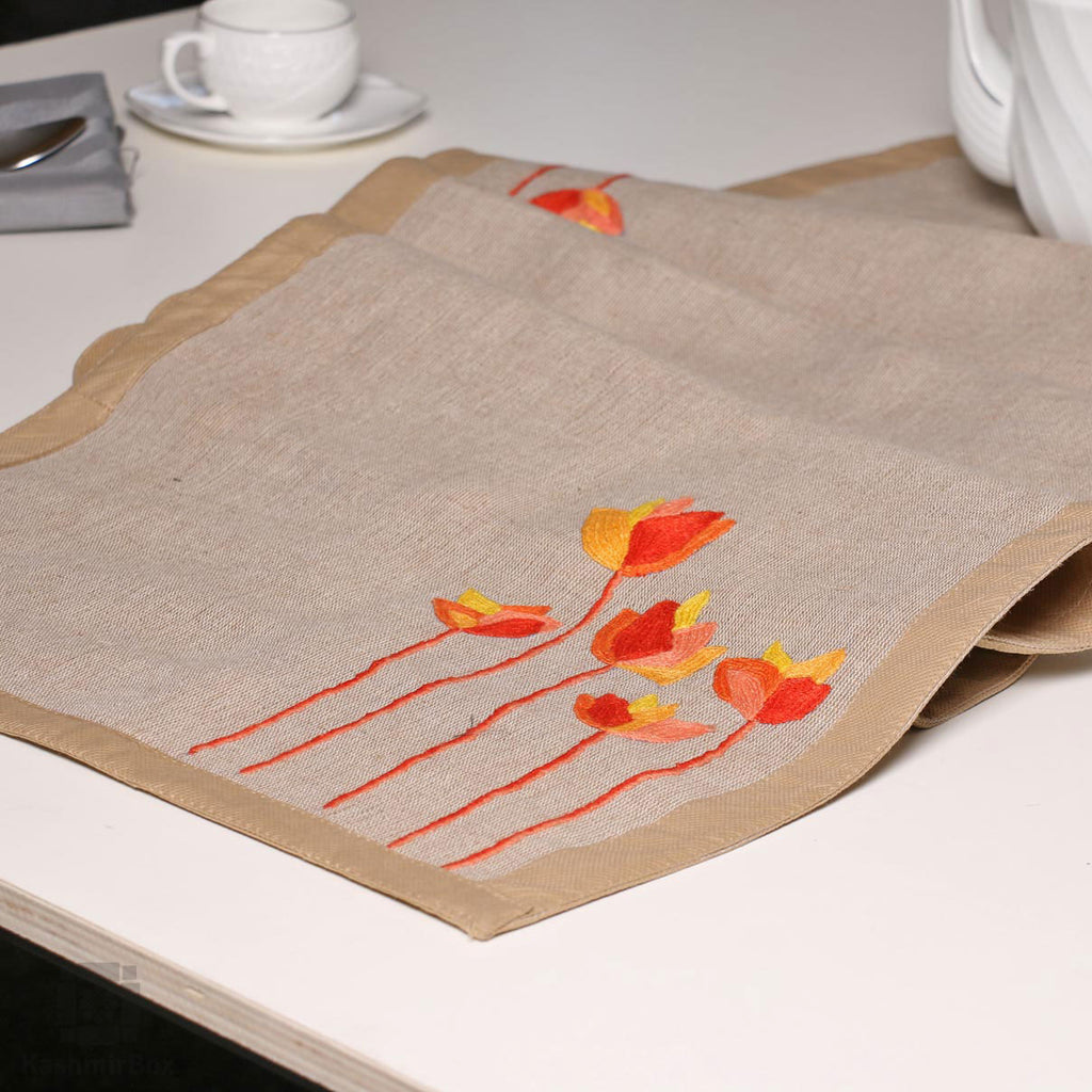 Lotus Motif Hand Embroidered Table Runner