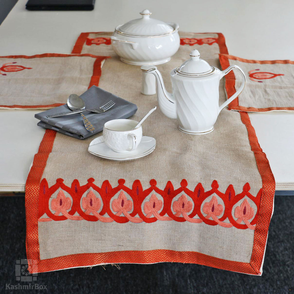 Orange Vine Hand Embroidered Jute Table Set