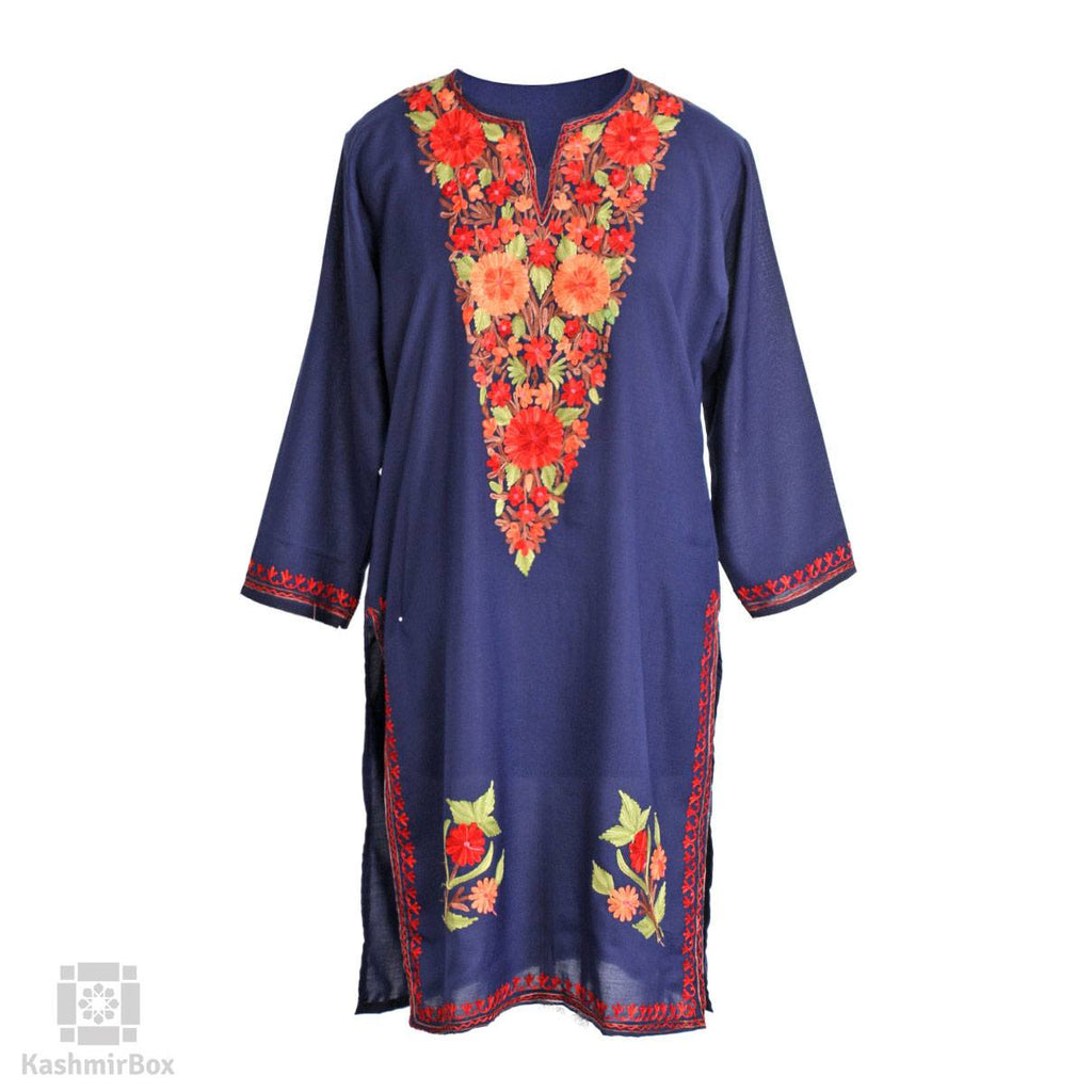 Enmeshed Marigolds Aari Embroidered Cotton Kurti
