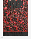Black Enmeshed Vines Aari Embroidered Silk Saree - Kashmir Box