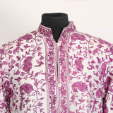 Paisleyed Aari Embroidered White Silk Jacket