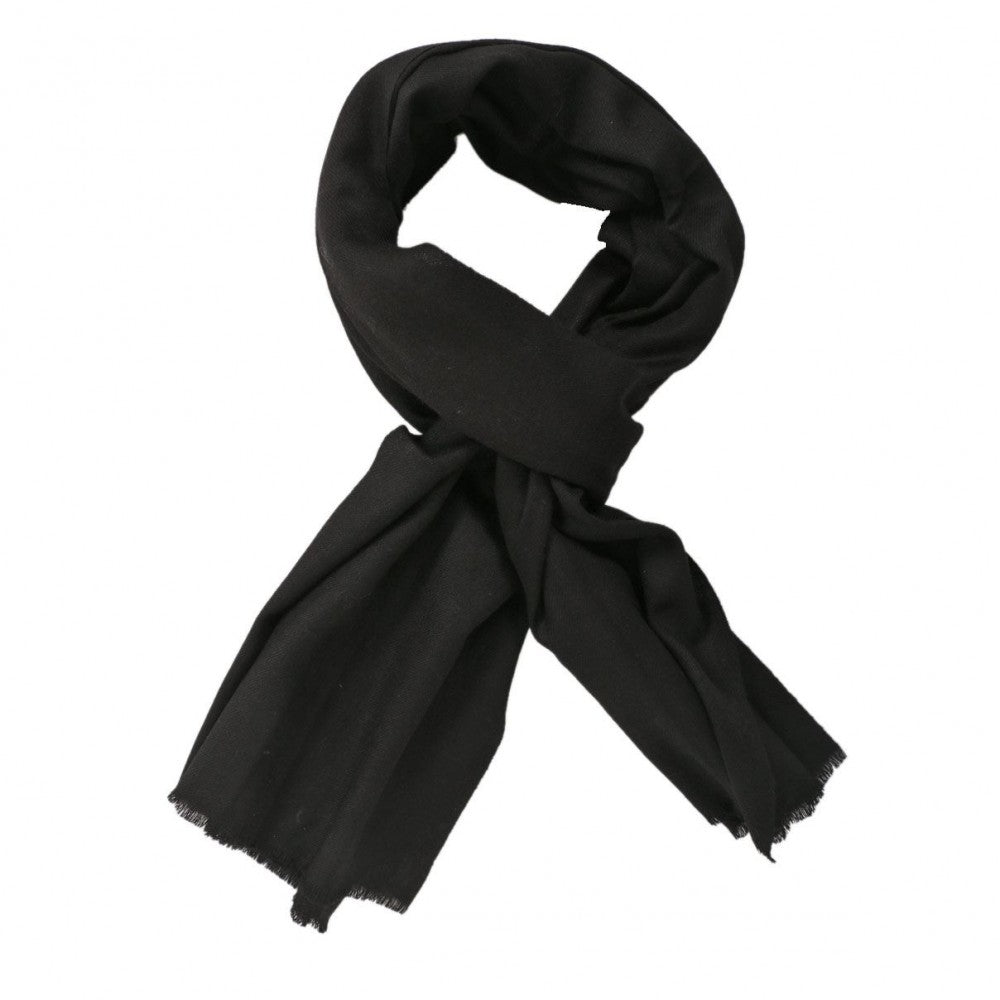 Metal Black Solid Woolen Scarf