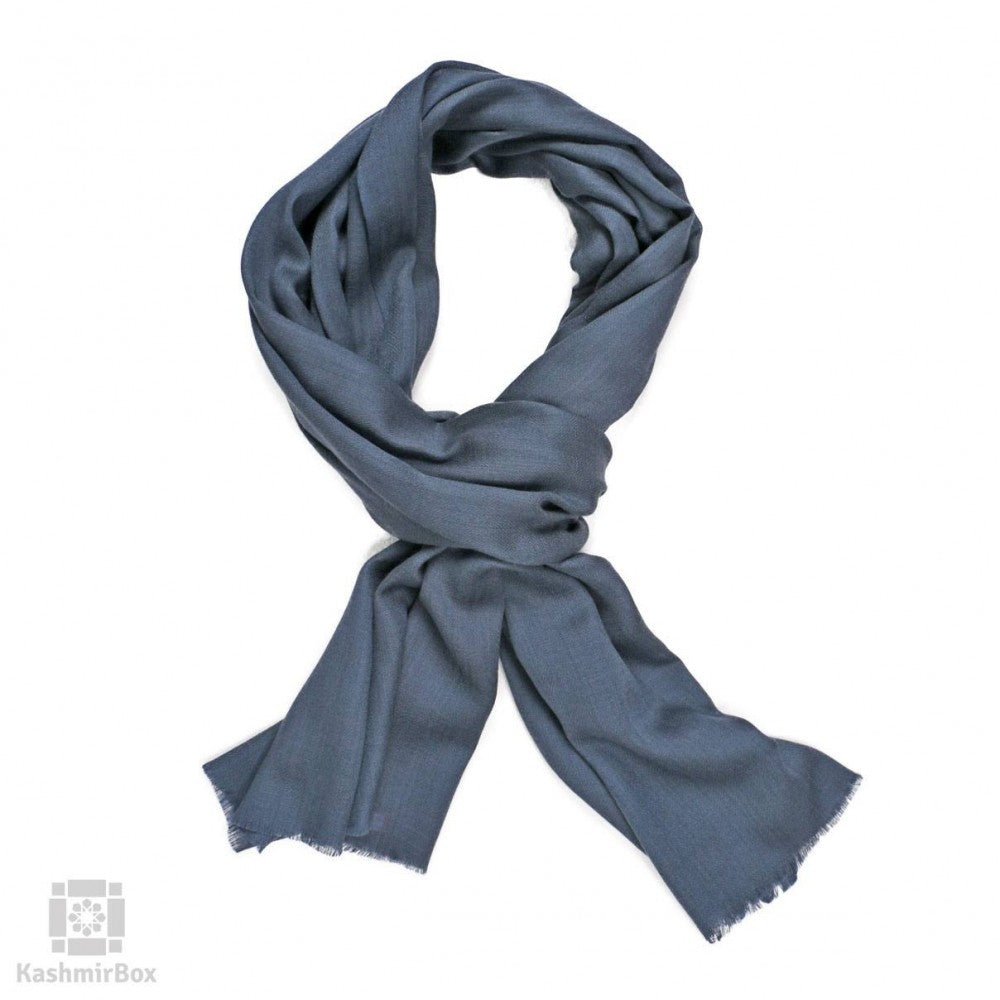 Pewter Grey Solid Woolen Scarf