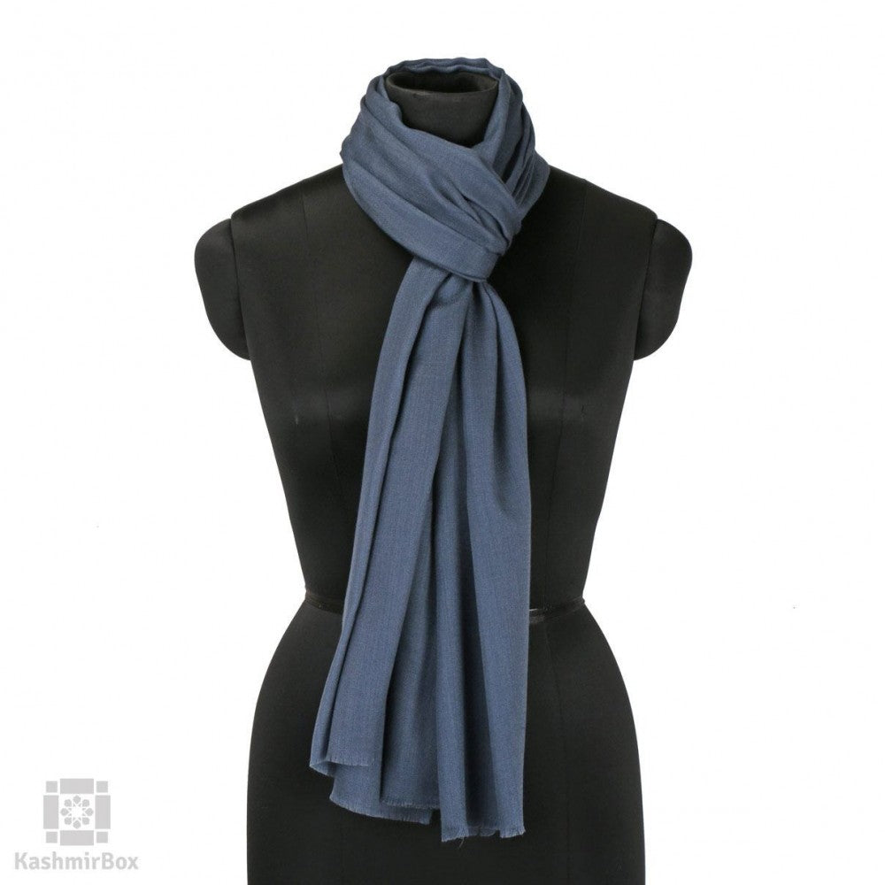 Pewter Grey Solid Woolen Scarf - Kashmir Box
