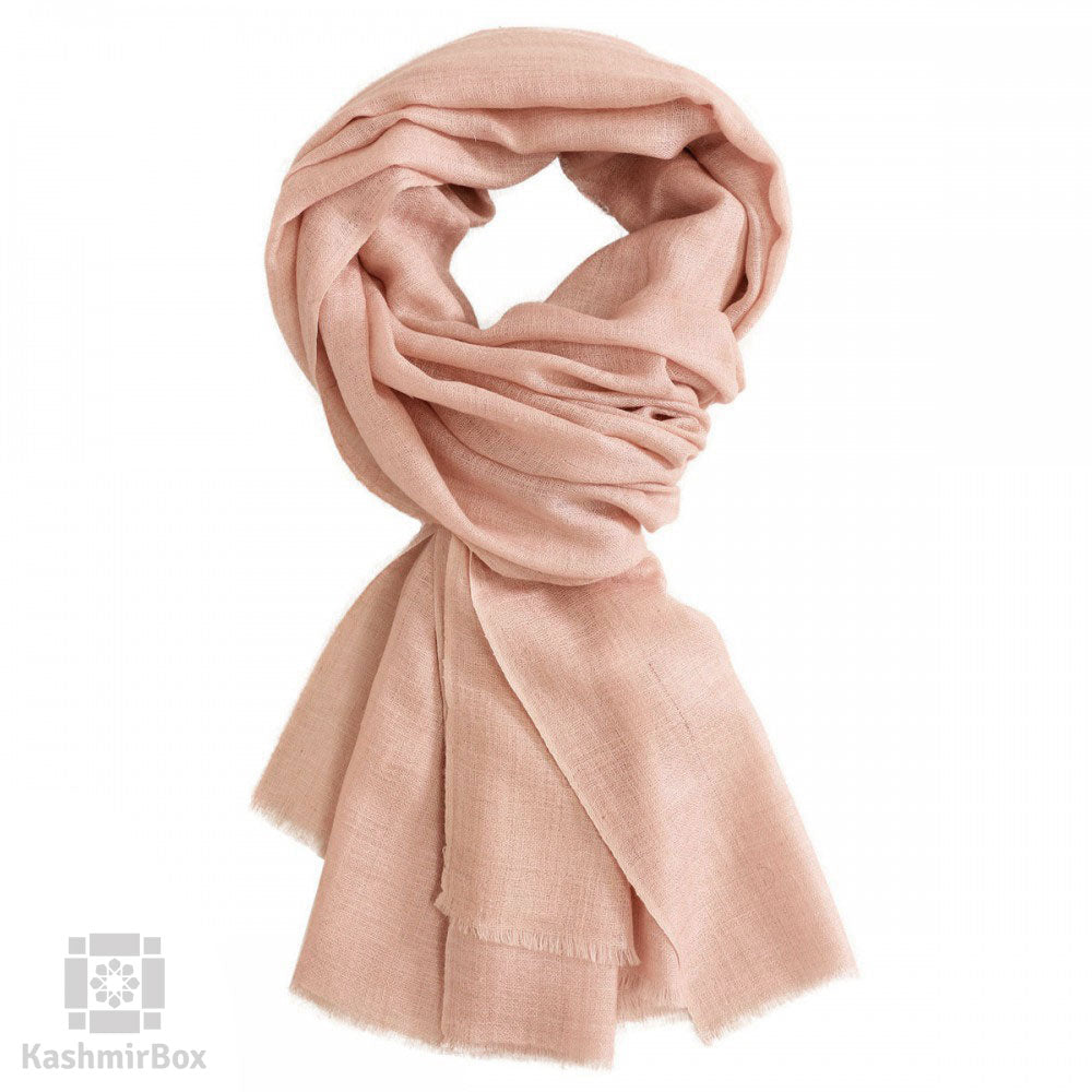 Light Pink Woolen Scarf - Kashmir Box