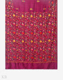 Bagh E Firdaus Aari Embroidered Purple Silk Saree - Kashmir Box