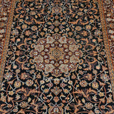 Black Kashan Silk Carpet