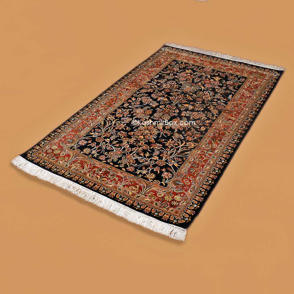Black Tree of Life Carpet - Kashmir Box