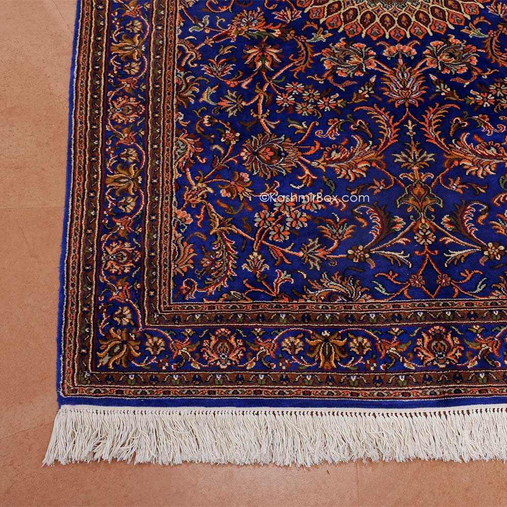 Ink Blue Kashan Silk Carpet