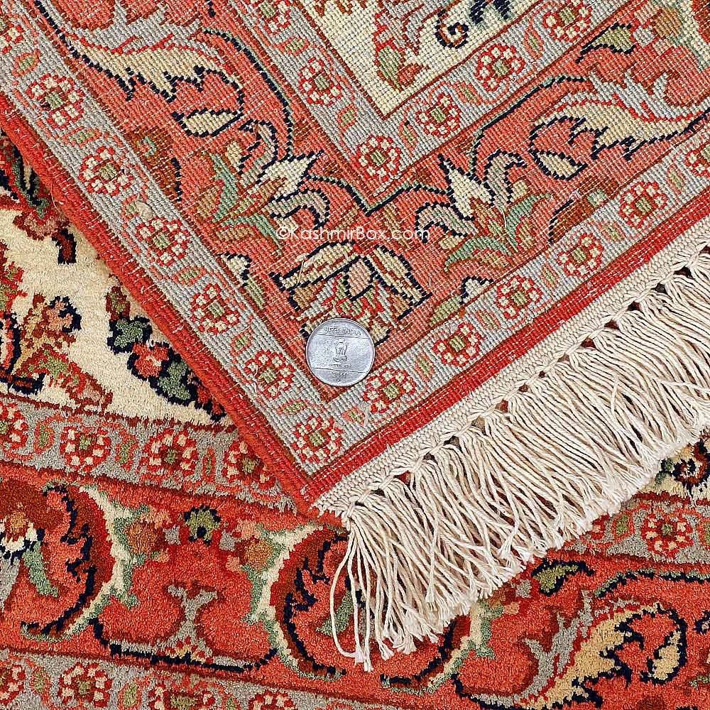 Orange Silk Carpet - Kashmir Box