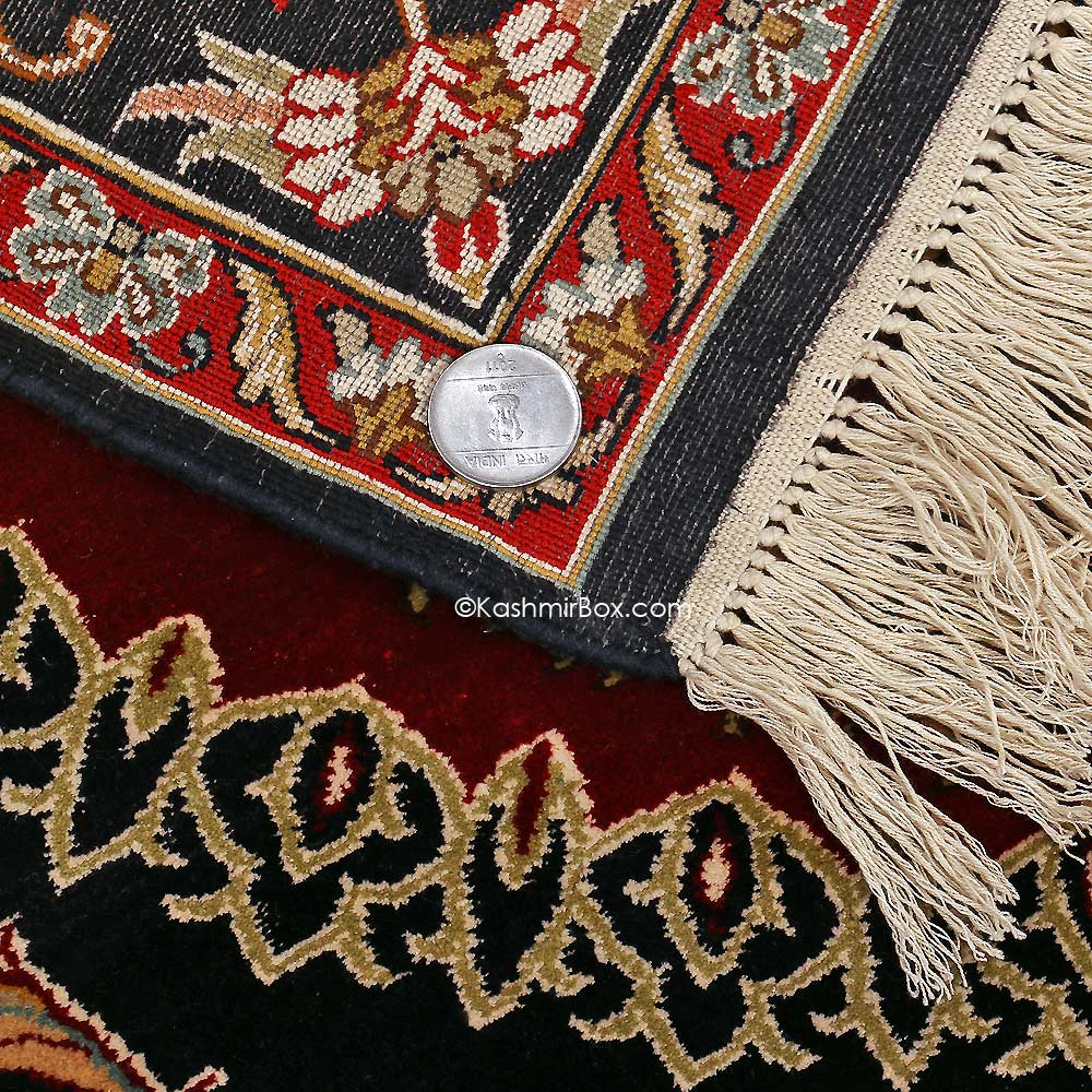 Black Kirman Silk Carpet