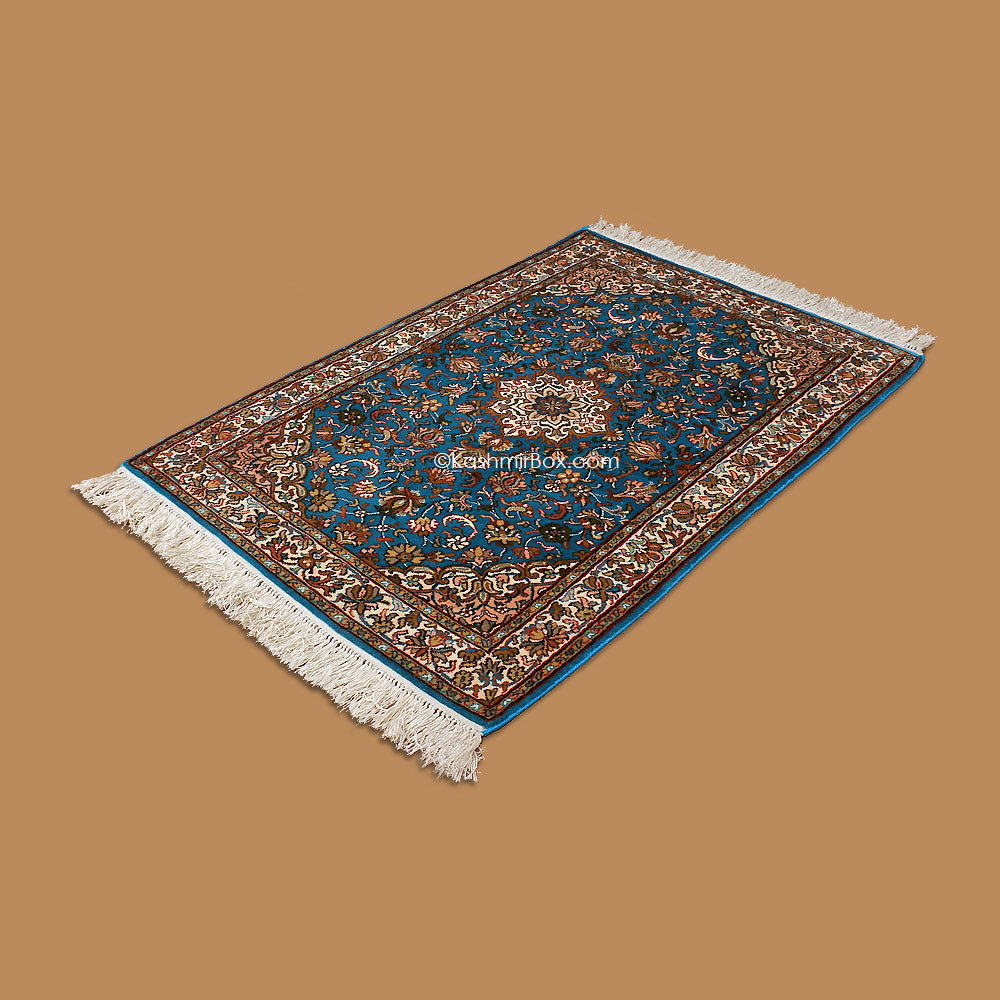 Blue Kashan Silk Carpet