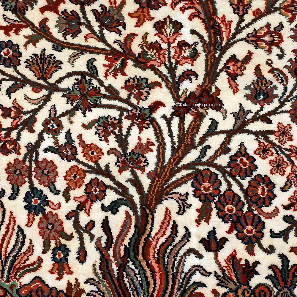 White Tree of Life Silk Carpet