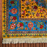 Ink Blue Gulabdar Silk Carpet