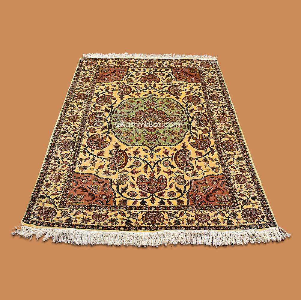 Butter Yellow Kashan Silk Carpet