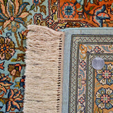 Sky Blue Mashad Silk Carpet