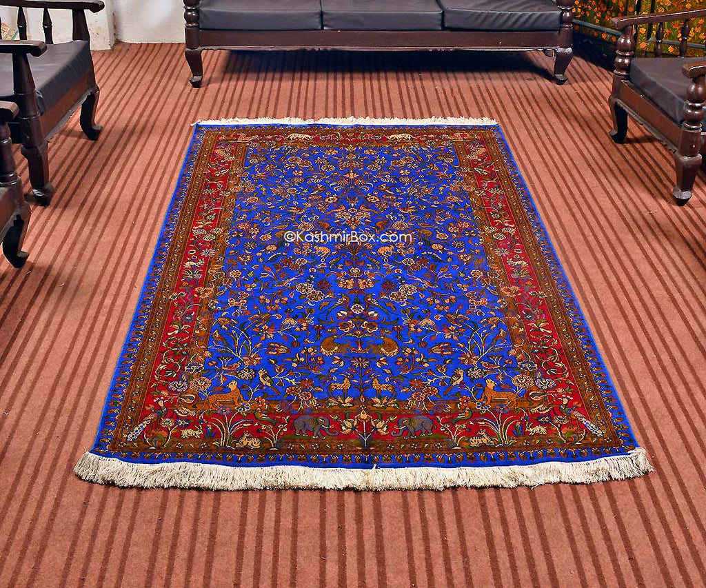 Ink Blue Tree of Life Silk Carpet - Kashmir Box