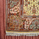 Yellow Khatam Band Silk Carpet
