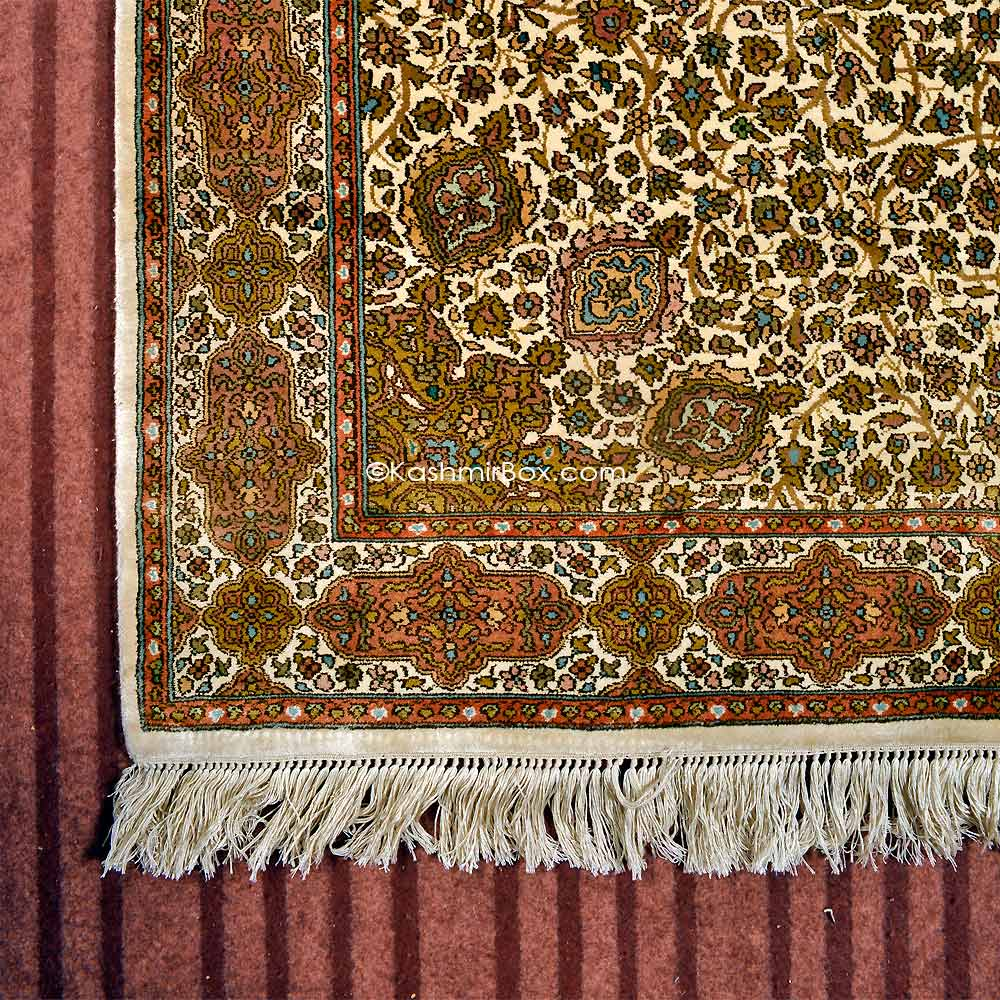 Cream Ardabil Silk Carpet - KashmirBox.com