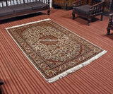 White Kashan Silk Cotton Carpet - Kashmir Box