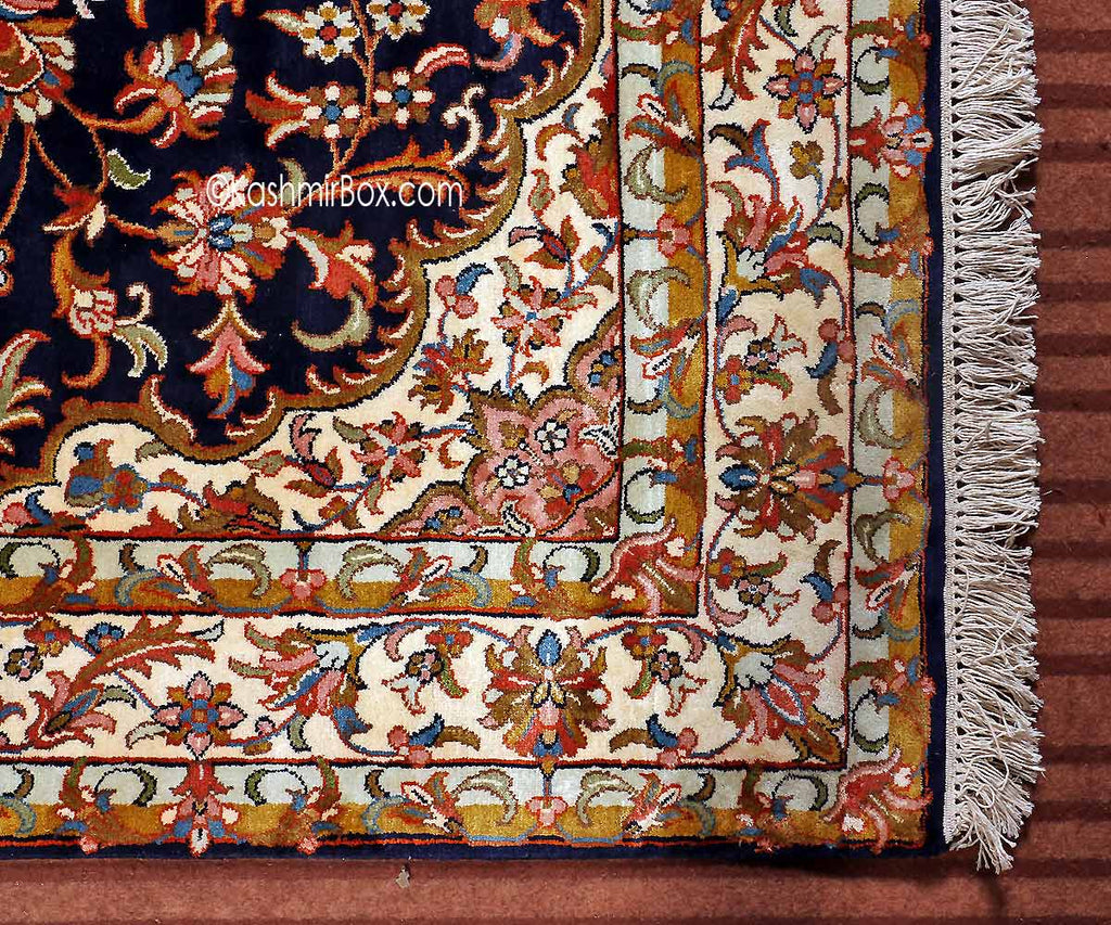 Blue Kashan Silk Cotton Carpet