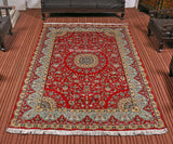 Red Kirman Silk Cotton Carpet