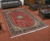 Buy Red Kashan Silk Cotton Carpet | Kashmir Box