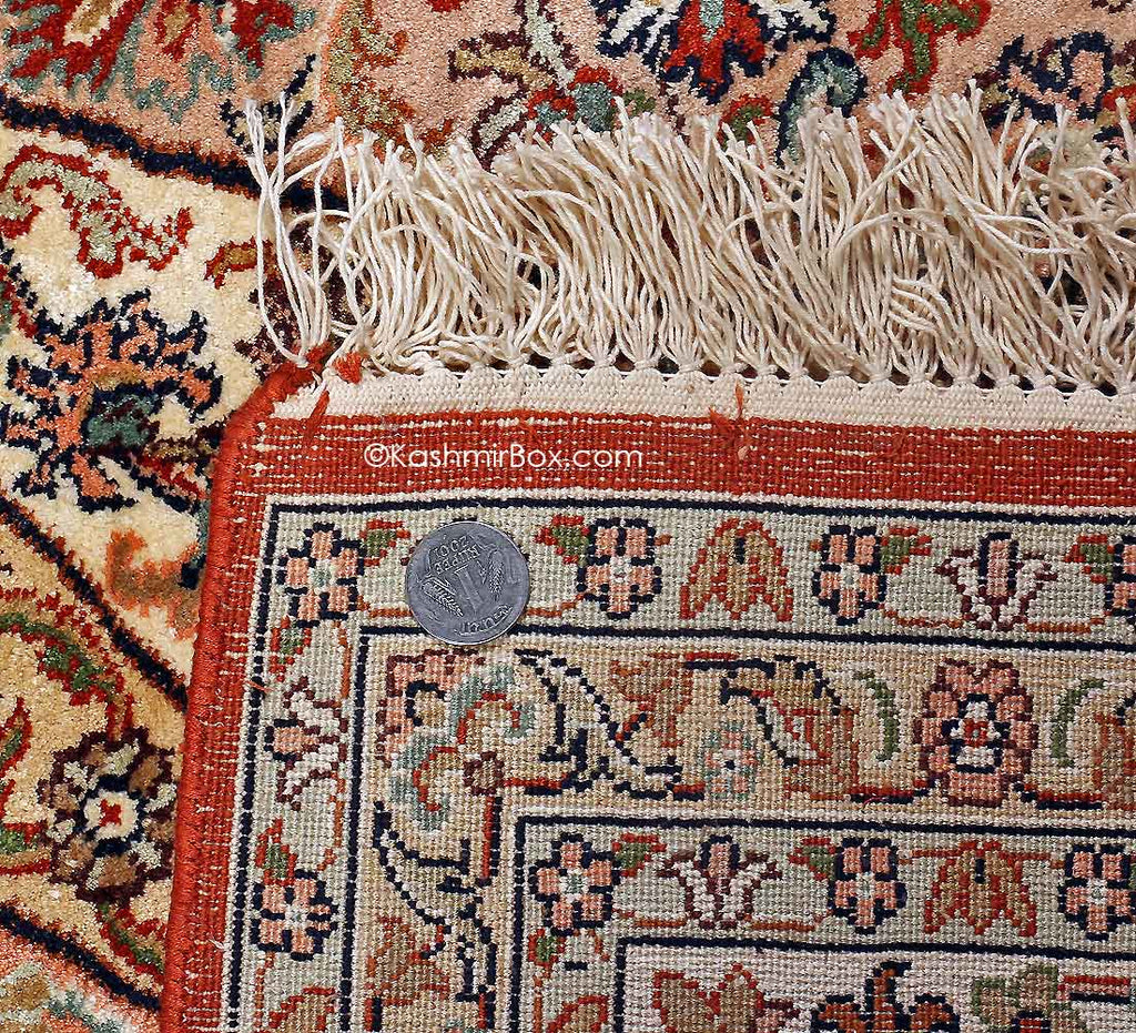 Crimson Khatam Band Silk Cotton Carpet