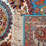 Ferozi Round Kashan Silk Cotton Carpets for living room online @ KashmirBox