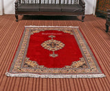 Red Open Silk Cotton Carpet