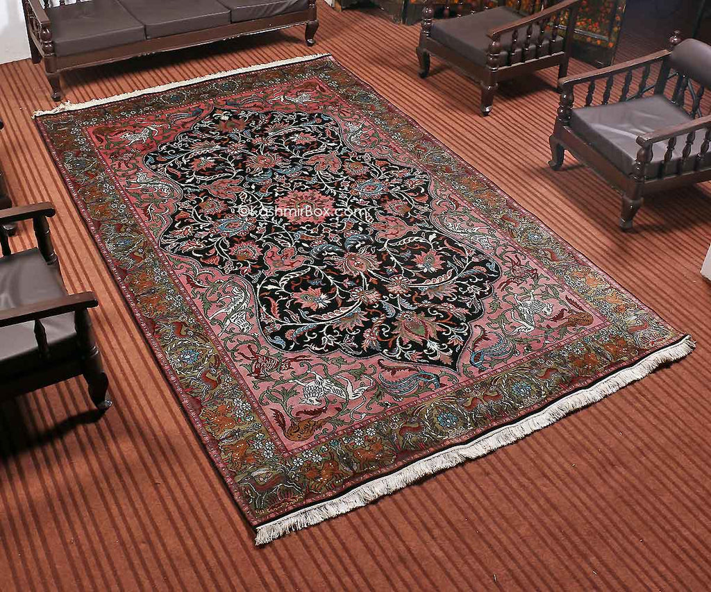 Black Hunting Kashan Carpet - Kashmir Box