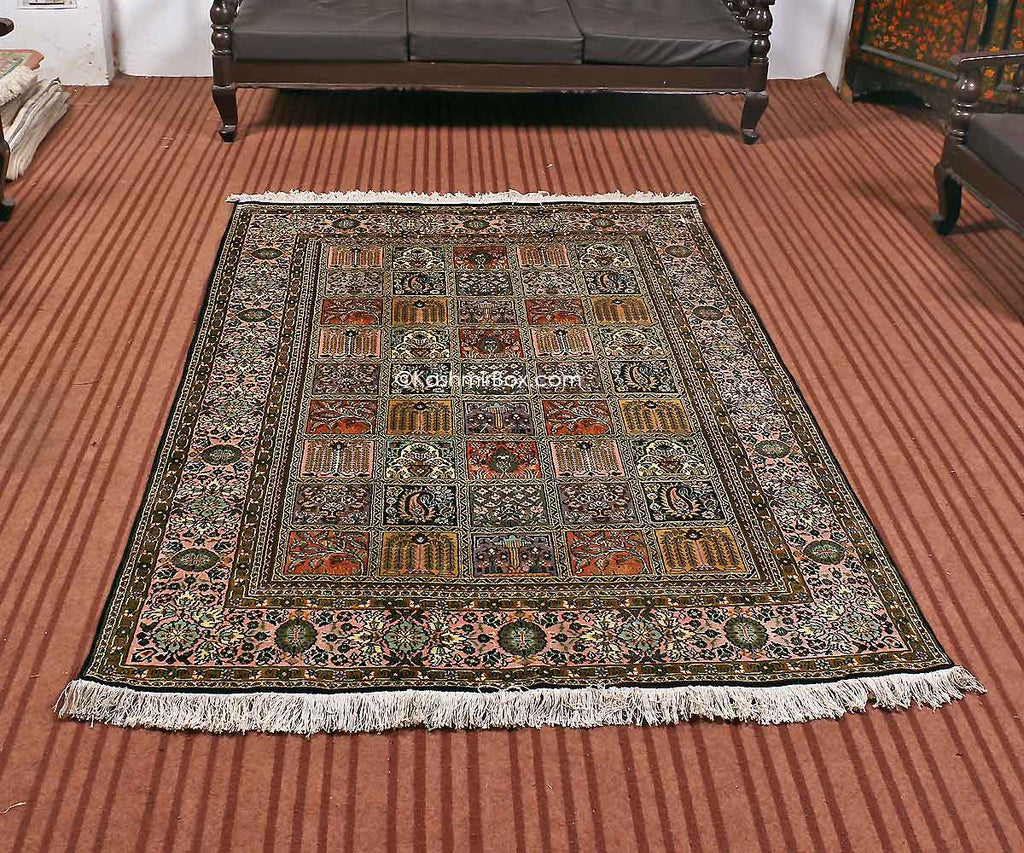 Black Dabdar Staple Carpet - Kashmir Box