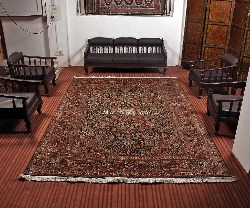 Blue Kashan Silk Cotton Carpet - KashmirBox.com