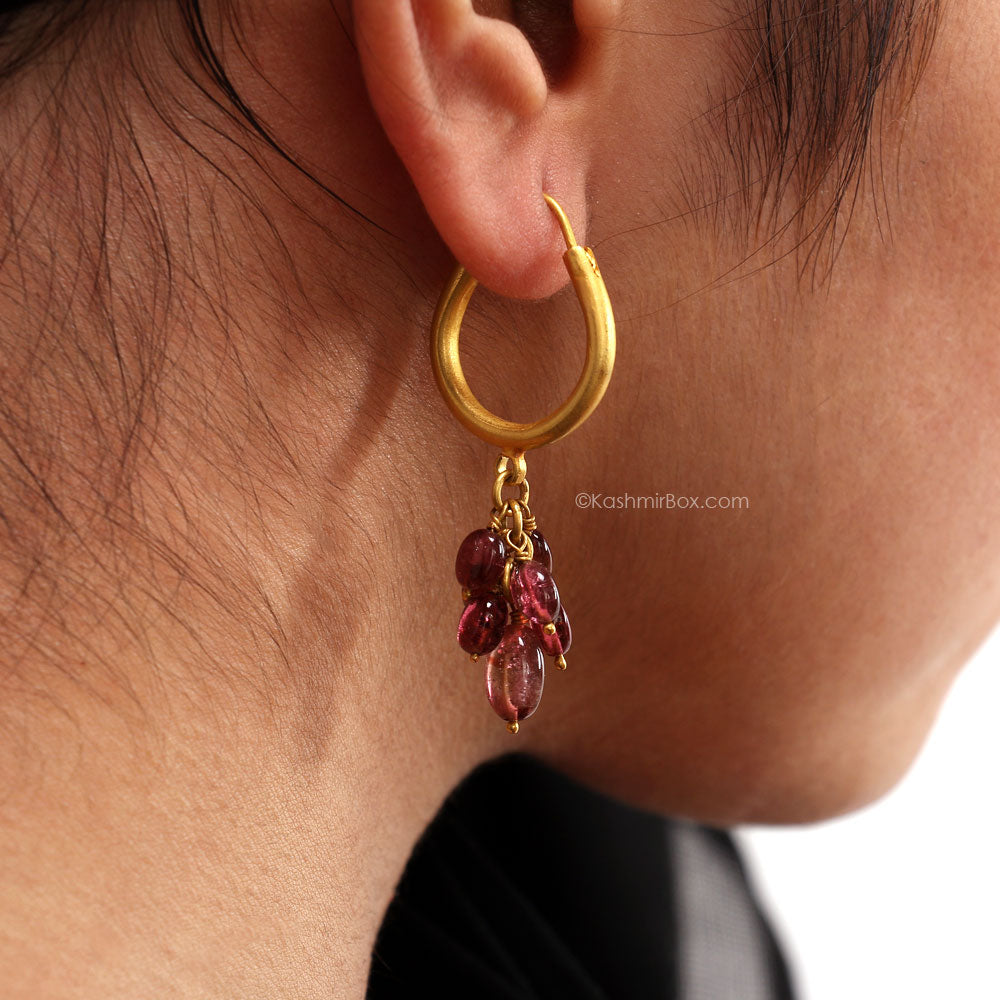 Frost Gold Tourmaline Loop Earrings