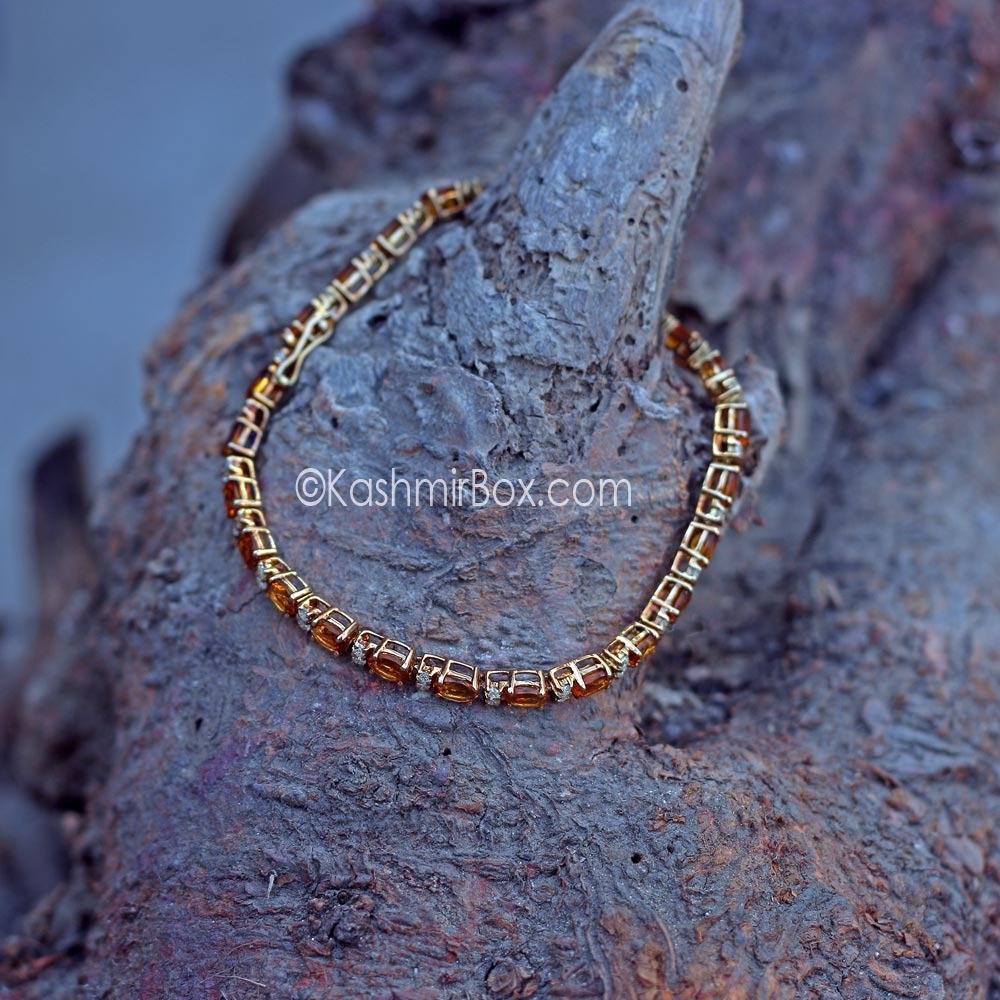 Golden Topaz and Diamonds on a Bracelet