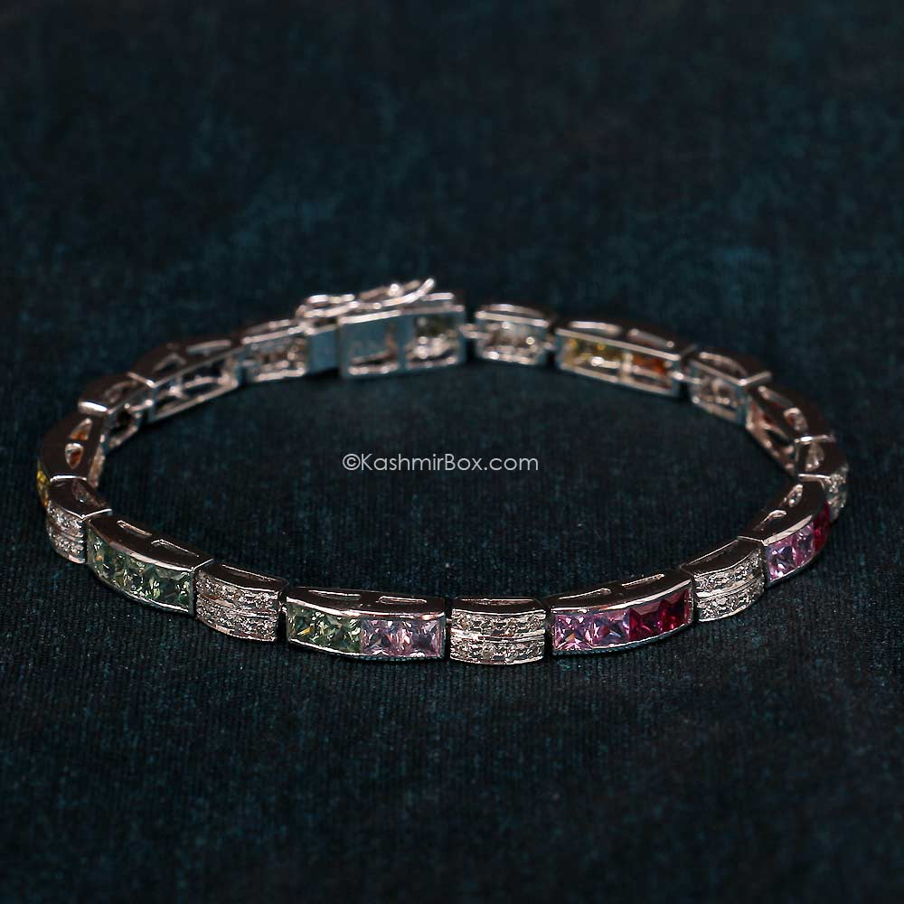 Multi Color Sapphires and Diamonds on a Bracelet
