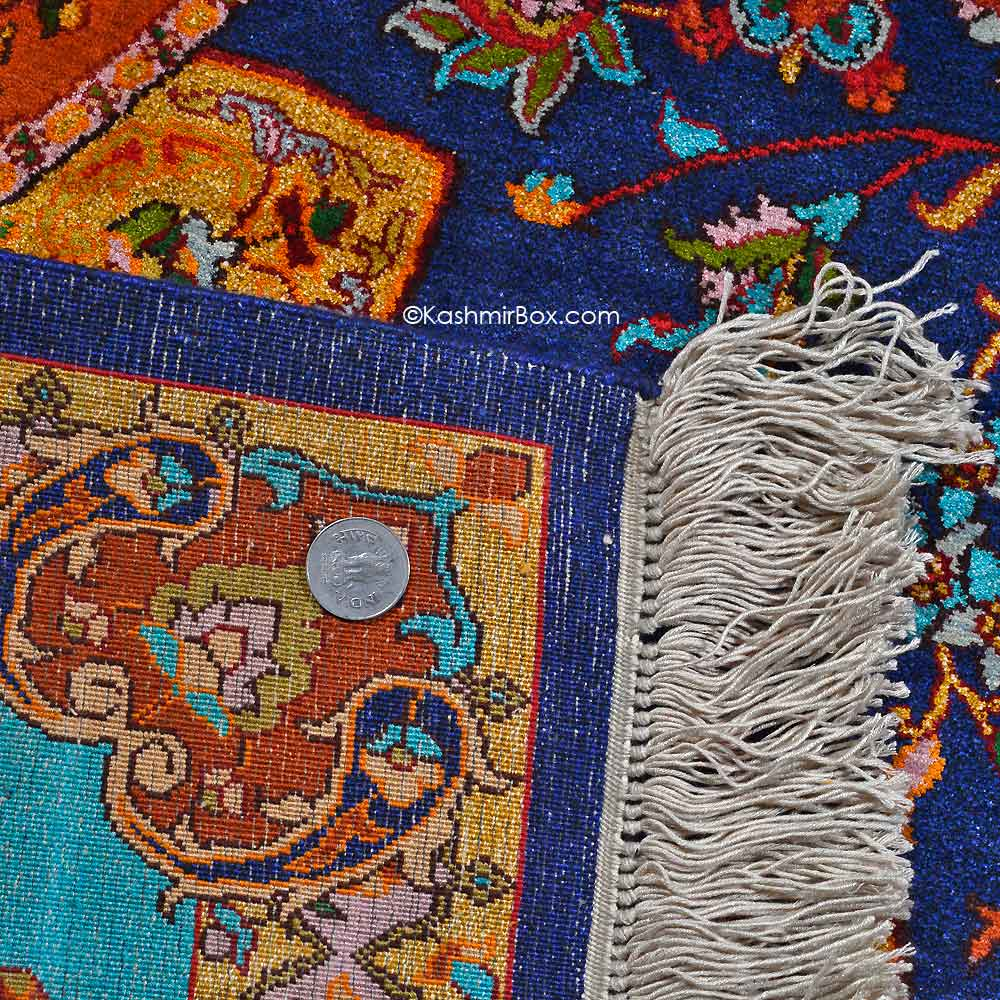 Kashan Blue Silk on Silk Carpet - Kashmir Box