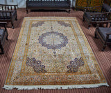 White Kashan Silk Carpet