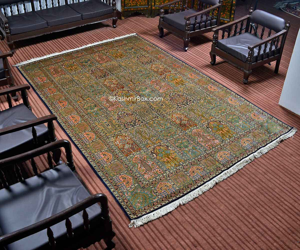 Navy Blue Hamdan Silk Carpet