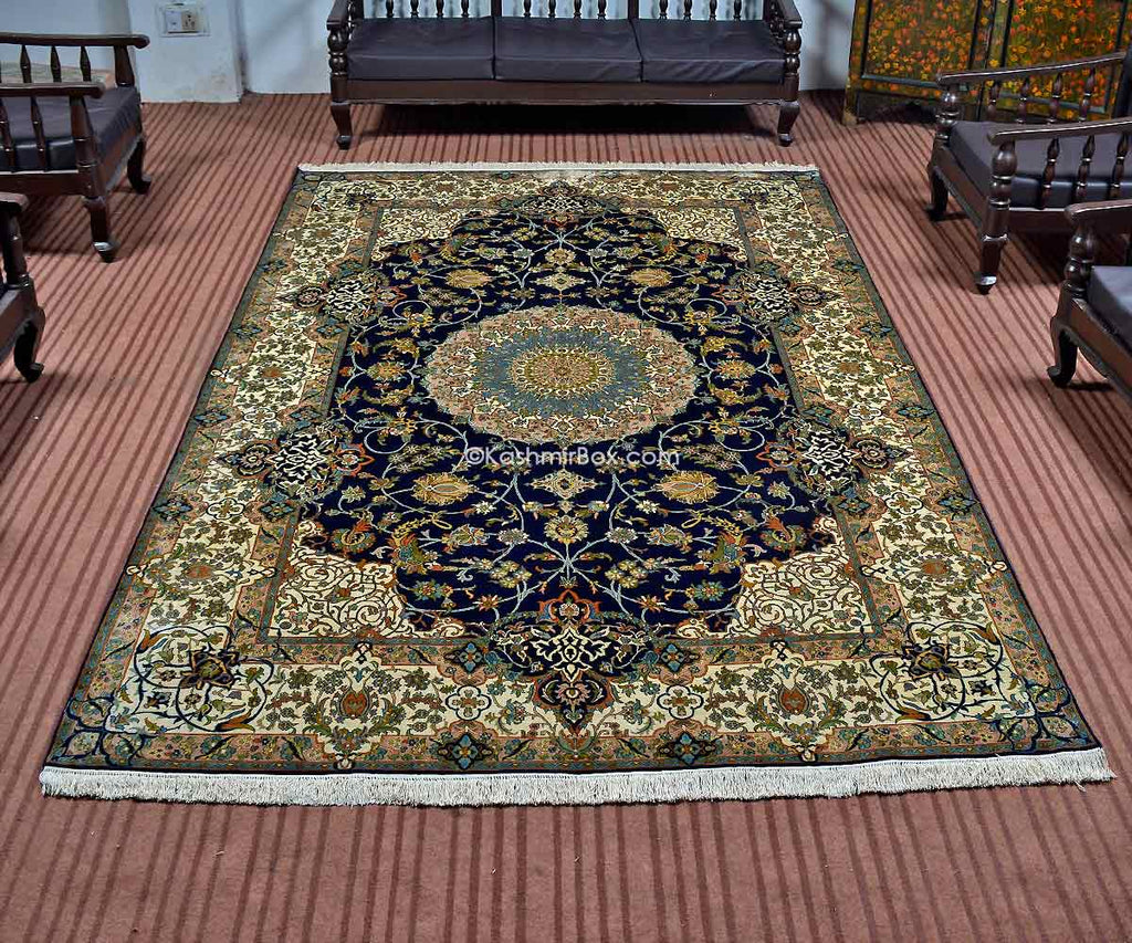 Blue Kirman Silk Carpet