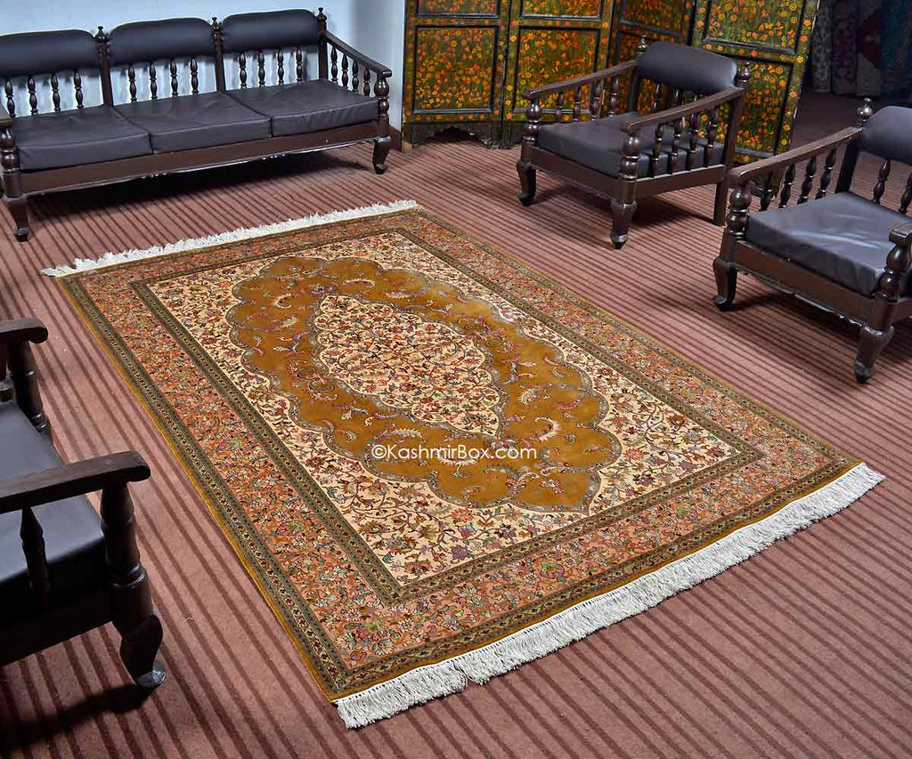 Gold Kirman Kashan Silk Carpet