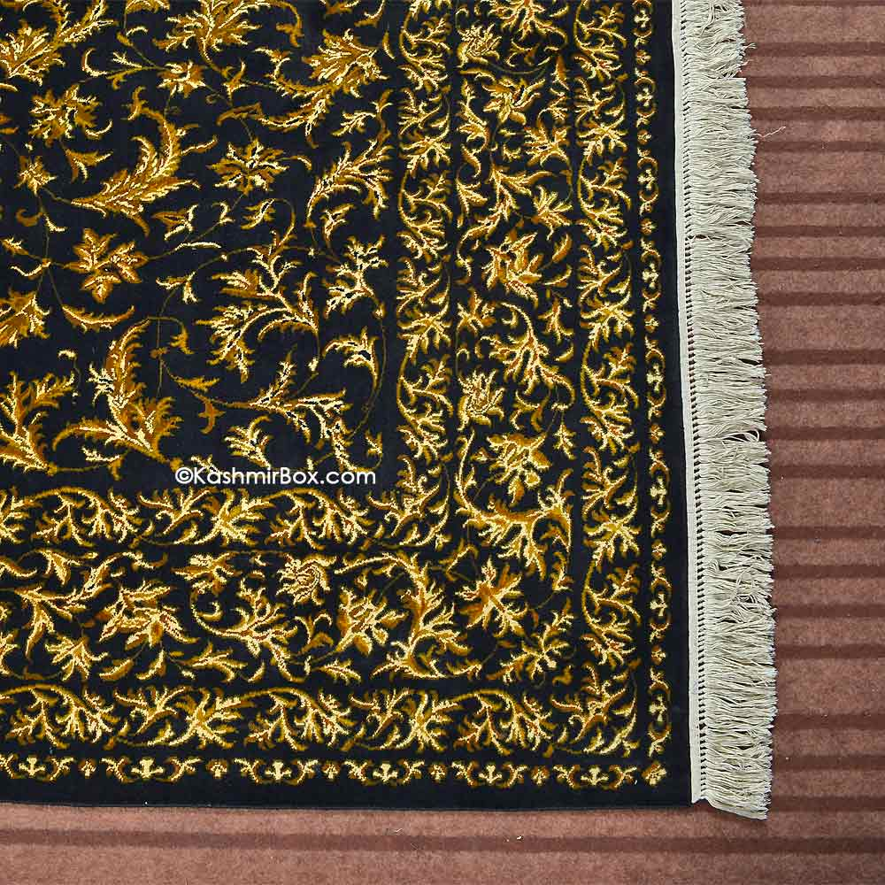 Blue Creme All Over Silk Carpet - Kashmir Box