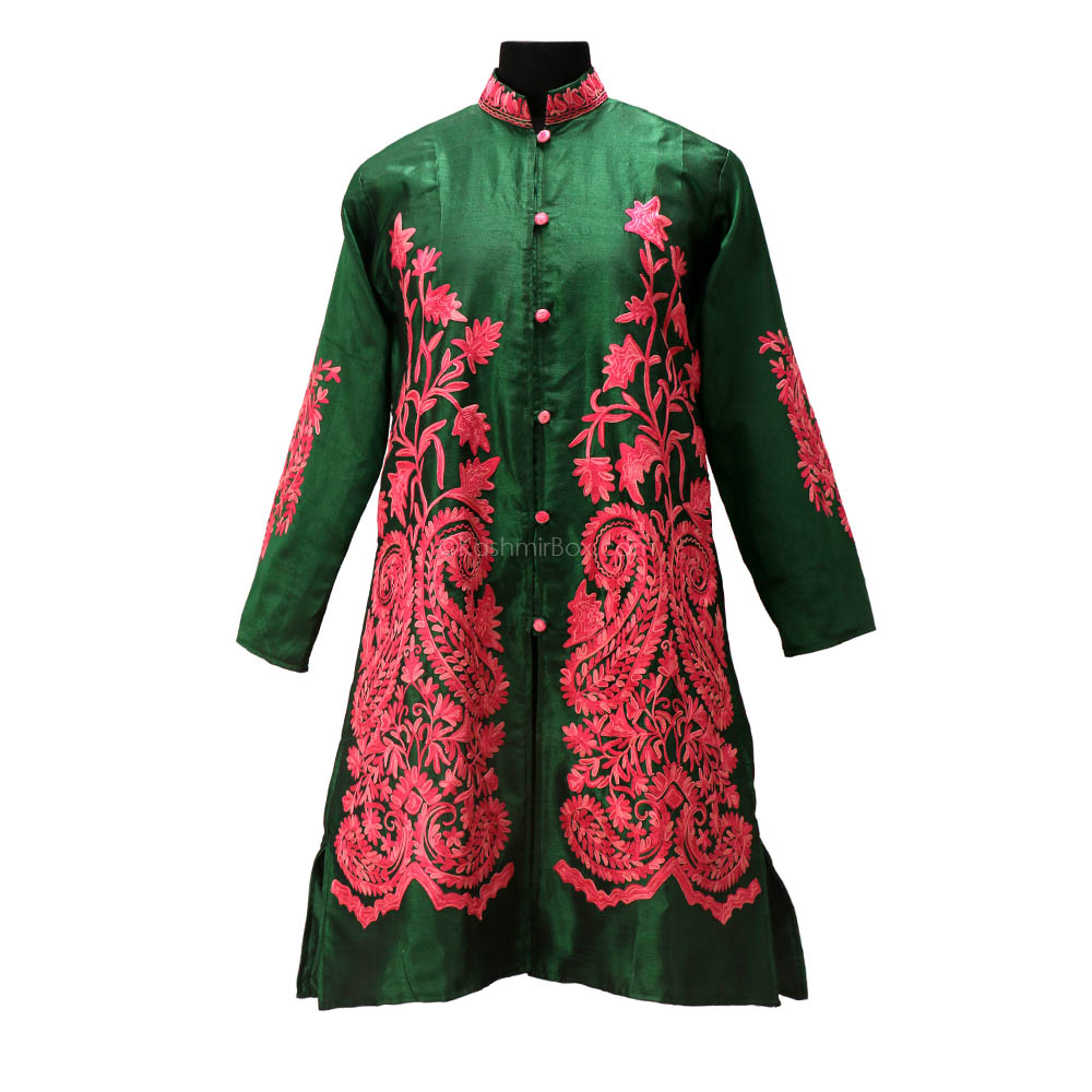 Juniper Aari Embroidered Silk Jacket - Kashmir Box