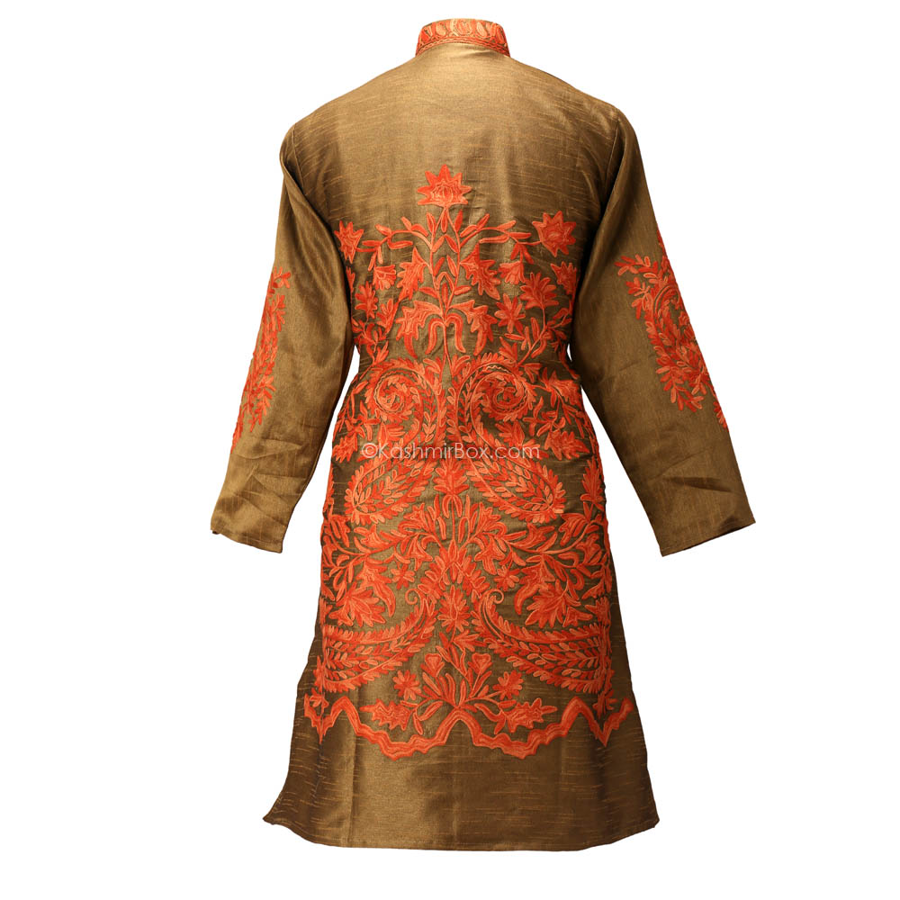 Sycamore Aari Embroidered Silk Jacket